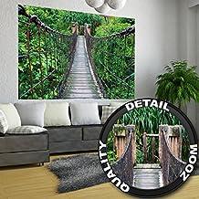 Puente colgante selva- XXL Lámina pared Puente colgante selva- Medida Póster 140 cm x 100 cm