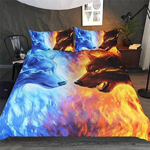 DXSX Bettwäsche Bettbezug 3D Wolf Theme Muster Bettbezug und Kissenbezug Easy Care Kinder Jungen Teenager Männer Bettwäsche (Grüner und gelber Wolf, 220x240cm)