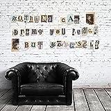 Entfernbare Wandsticker selbstklebend vintage Zeitung Aussparungen–Groß-Kleinbuchstaben Wandbild Kunst Abziehbilder Vinyl Home Dekoration DIY Living Schlafzimmer Décor Tapete Kinder Zimmer Geschenk 133x 92cm, mehrfarbig