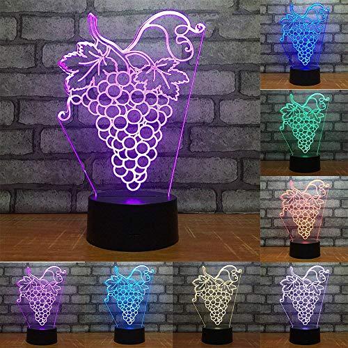 3D Illusion Lampe Traube LED Nachtlicht, USB-Stromversorgung 7 Farben Blinken Berührungsschalter Schlafzimmer Schreibtischlampe für Kinder Weihnachts geschenk - C6 Mit Blauem Led-licht