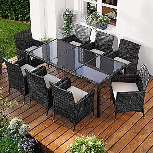 Polyrattan Gartenmöbelset Elegance 9tlg Schwarz Poly Rattan Sitzgarnitur Gartenmöbel Garten-Garnitur Gartenset Sitzgruppe Lounge Essgruppe Tisch Sessel Stühle