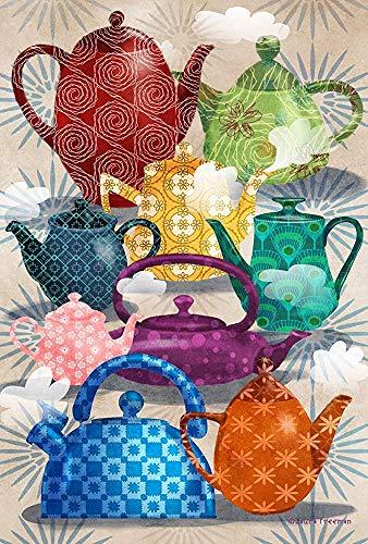 jiaxingdalin Hausgarten-aufwändige Teekannen-dekoratives buntes künstlerisches Muster-dämpfende Tee-Topf-Garten-Flagge