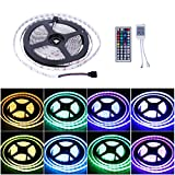 Noza Tec Ultra Bright LED Strip Kit,5M/16.4Ft Waterproof RGB Colour Changing 300 LEDs 5050 SMD with 44 Key Remote Controller for Christmas,Home Party etc