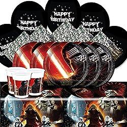 Star Wars: El Despertar de la Fuerza - Kit para fiesta para 8 personas, con globos, vasos, platos, servilletas y mantel