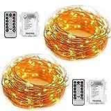 YiHong 2 Stück Lichterkette Batterie 5M 50er LED Kupferdraht Wasserdicht Sternen mit Fernbedienung und Timer für Party, Garten, Weihnachten, Halloween, Hochzeit, Beleuchtung Dekoration
