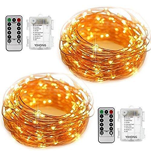 YiHong 2 Stück Lichterkette Batterie 5M 50er LED Kupferdraht Wasserdicht Sternen mit Fernbedienung...