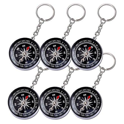 6er Pack Schlüsselanhänger Kompass mit Schlüsselkette Schlüsselring Anhänger Kindergeburtstag Mitgebsel Tombola Schlüssel Anhänger Schlüsselkette