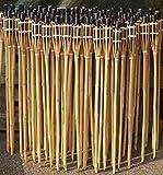 18 Stück Gartenfackeln Bambus Fackel Öllampen mit Sturmverschluss Dochtschutz (Beige, 90cm)