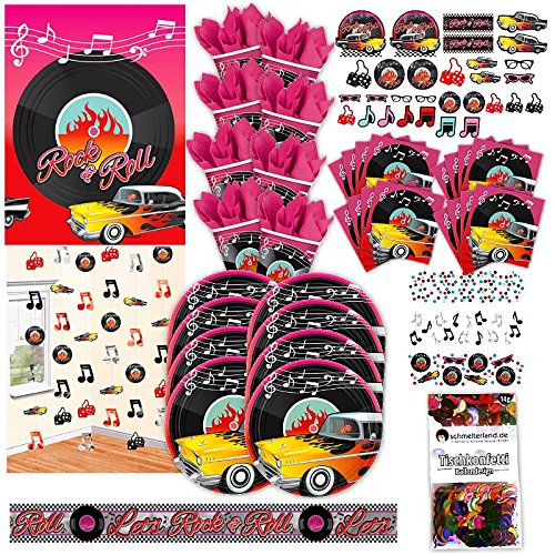 50er Jahre Rock n Roll Party Set XL 72-teilig 8 Gäste 80 Fünfziger Rollabilly Deko Partypaket