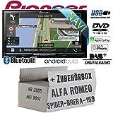Alfa Romeo 159 Spider Brera Navi Bose - Autoradio Radio Pioneer AVIC-Z910DAB - Navigation   DAB+   Bluetooth   DVD   HDMI   Wifi   Android Auto   Apple CarPlay Einbauzubehör - Einbauset
