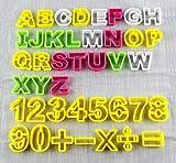 Homewit 41tlg Buchstaben Ausstecher groß Fondant Ausstechform Modellierwerkzeug farbig Alphabet Zahlen Tortendeko Mazipan Kuchendekorationsset Backen für Tortendeko