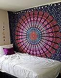 Tapiz de pared Raajsee, mándala morada de plumas, diseño psicodélico, 220x240cm, algodón,...