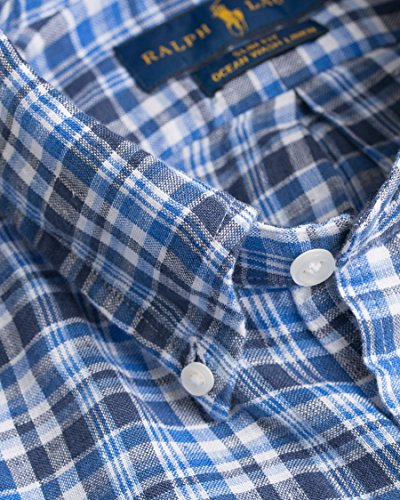 Ralph Lauren A04XZ7HSXY7GN camicia di lino uomo button-down slim fit Blue