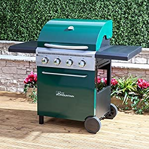 Fire Mountain Logan 4 Burner Gas Barbecue - 133cm W x 112cm H, Cast Iron Grill, Piezo Ignition, Temperature Gauge, Side Shelves, Green Steel, Free Propane Regulator & Hose by Fire Mountain