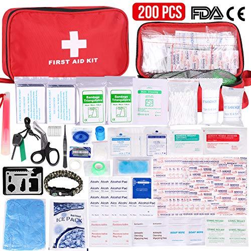 Gaoqian Kit Pronto Soccorso 200 Pezzi, Kit di Primo Soccorso Confezione Ghiaccio Coperte di Emergenza Maschera CPR per la Sopravvivenza del Sacchetto Medico per Auto, Casa, Campeggio, Viaggi