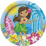 Hula Girl Luau Party Dinner Plates, 8ct