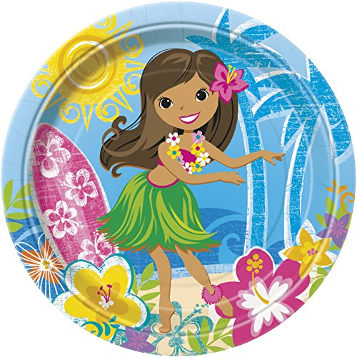 Unique Party Supplies Partyteller, 23 cm, hawaiianischer Strand Motiv, 8 Stück