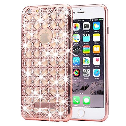iPhone 6S, 6 Diamant-Koffer, KrygerShield® - Luxus leichte super Skinny Achat Rückenabdeckung - Roségold Rose Gold