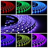 LED Bande 5M 300 LEDs SMD 5050 Ruban LED RGB Flexible Dimmable Kit Ruban LED 5 Mètres RVB Bande LED Strip + Télécommande + Alimentation 12V