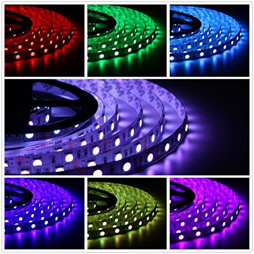 Zwei Leichte Streifen (Salcar 5m RGB LED Strip LED Streifen mit 300 LEDs (SMD5050), 16 Farben auswählbar, inkl. 24 Tasten IR-Fernbedienung, Controller und 12V 60W Netzteil)