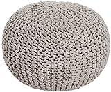 Sitzpuff Sitzhocker Bodenkissen ver. Farben Ø 55 Höhe 37 cm Baumwolle handgeknüft (beige)
