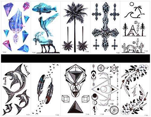 Interookie 10pcs tatuaggi adesivi tatuaggi temporanei croce in one colli, disegni misti come croce, sharp, piuma, cute baby, animal, albero, totem, fiore, ecc.