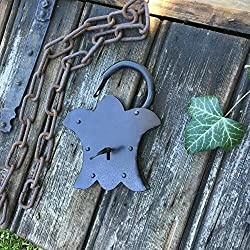 Antikas - candado estilo antiguo de color gris antracita- candados pequeños con llave para baúles y puertas - cerraduras antiguas