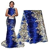 Pqdaysun - Tissu africain du Nigeria en dentelle - 4,6m - tulle française perlée F50334, Bleu/crème, 5 yards