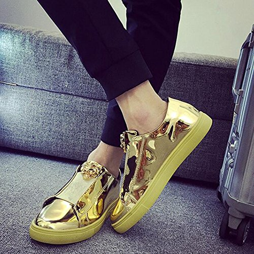 SUN Schuhe Der Herbstpersönlichkeits-Männer Beschuht Beiläufige Schuhe Turnschuh-Schuhe Schwarzes Blaues Gold Und Silber (Farbe : Gold, größe : EU42/UK8.5/CN43)