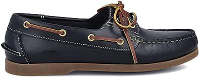 PAYMA - Chaussures Bateau Homme en Cuir Spécial Seahorse Huilé. 2 Oeillets Lacet Classique Docksides. Semelle en Caoutchouc. Coleurs Brun et Bleu