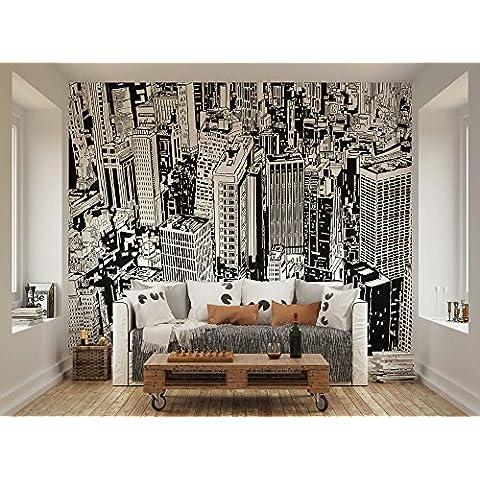 ohpopsi blanco y negro Urban Cityscape ilustración Mural