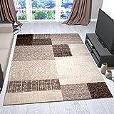 Wohnzimmer Teppich Kurzflor in Beige Braun Designer Teppiche Modern Kachel-Optik Kariert Pflegeleicht -VIMODA, Maße:160x230 cm