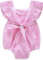 SHOBDW Girls Clothing Sets, Newborn Baby Girl Cotton Lattice Bowknot Clothes Bodysuit Romper Jumpsuit Outfit Set