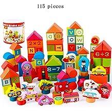 FEI Juguetes para Bebés Building Blocks Children's Intellectual Childhood Education Juguetes de madera Temprano Educación ( Tamaño : B+115 pcs )