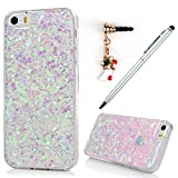 iPhone SE Case,iphone 5S Case,iPhone 5 Case, Badalink Bling Glitter Soft Gel Clear Shock Absorption TPU Case Luxury Shinny Sparkle Ultra-Slim Silicone Case Back Shell for iPhone SE 5S 5 with with 1 Touch Pen & 1 Dust Plug,Light Purple