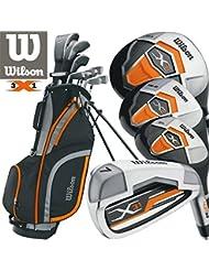 Wilson herren X31 golf set + 1INCH länger neu für 2017 Stahl mit Schaft Eisen & Graphit mit Schaft Hölzer Gratis Regenschirm & society Abschlag-pack worh