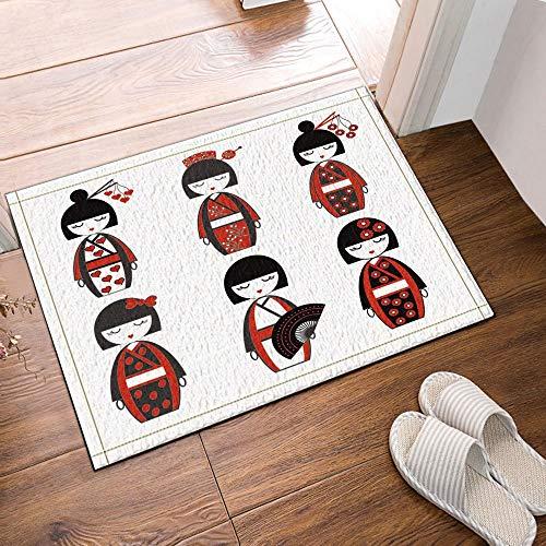 gohebe Japanische weiblich Puppen inspiriert von asiatischen Kultur Bad Teppiche rutschhemmend Boden Eingänge Outdoor Innen vorne Fußmatte 39,9x59,9cm Badvorleger Badematte Bad Teppiche Japanischen Boden