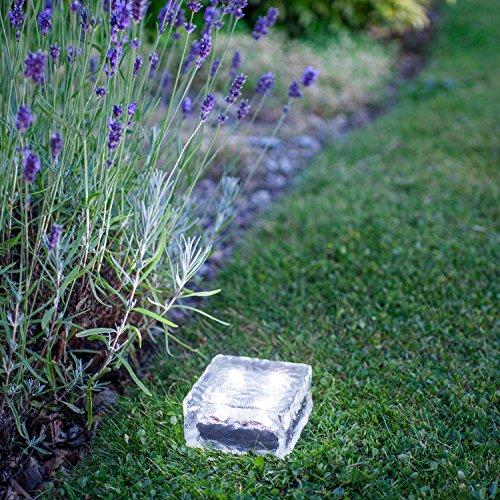4er Set Solar Glas Pflastersteine Wegbeleuchtung Minibild