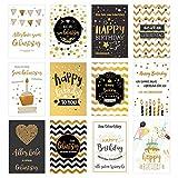 Set 12 exklusive Geburtstagskarten mit feiner Goldprägung und Umschlag. Glückwunschkarte Grusskarte zum Geburtstag. Geburtstagskarte Karte Mann Frau (Doppelkarten/Klappkarten mit Briefumschlag)