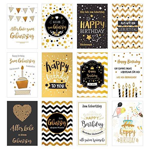 Set 12 exklusive Premium Geburtstagskarten mit feiner Goldprägung und Umschlag. Glückwunschkarte Grusskarte zum Geburtstag Geburtstagskarte Mann Frau Karten Happy Birthday Billet Spruch Sprüche