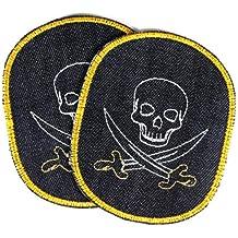 Pirat Anker Aufnäher // Bügelbild Applikationen Patches 5.8 x 8.7 cm rot