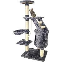 Todeco - Arbre à Chat, Perchoir pour Chat - Matériau: MDF - Dimensions de la Maison à Chat: 30,0 x 30,0 x 42,9 cm - 120 cm, 5 perchoirs, Gris