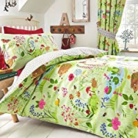Kids Club Bluebell Woods Bed Duvet Cover and Pillowcase Set, Polyester-Cotton, Green, Single, 200 x 135 x 0.1 cm