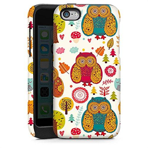 Apple iPhone 4 Housse Étui Silicone Coque Protection Hibous couleurs Forêt Cas Tough brillant