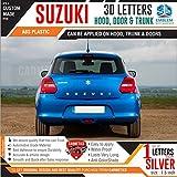 #4: Suzuki 3D Letters for Maruti Suzuki Celerio X - Silver Color 1 Set - CarMetics