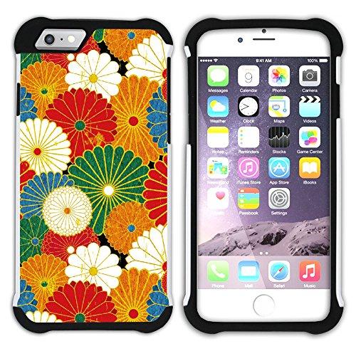 Graphic4You Blume Blumen- Muster (Schwarz) Hart + Weiche Kratzfeste Hülle Case Schale Tasche Schutzhülle für Apple iPhone 6 Plus / 6S Plus Design #12