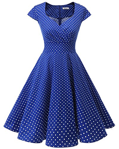 bbonlinedress 1950er Vintage Retro Cocktailkleid Rockabilly V-Ausschnitt Faltenrock Royalblue Small White Dot S Dot Kleid