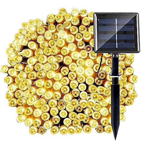 MKT® Solar LED String 8 Modes 200 Lichter wasserdicht Ambiance Beleuchtung glühend Outdoor Patio Rasen Landschaft Fairy Garden Yard Hochzeit Weihnachtsfeier Weihnachtsbaum (Warmes Weiß) (Pack 1)