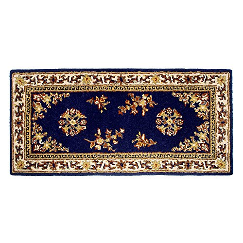 Minuteman International Bleu Oriental rectangulaire Laine Foyer Tapis