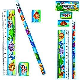 German-Trendseller-4-x-Dino-Schreib-set-4-x-Bleistift-4-x-Lineal-4-x-Radierer-4-x-Spitzer-Mitgebsel--Dinosaurier-Welt-Dieses-Schreib-Set-ist-ideal-fr-Schulanfnger-